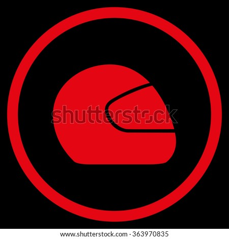 Motorcycle Helmet vector icon. Style is flat circled symbol, red color, rounded angles, black background.
