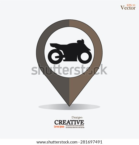 motorcycle  Icon On Map Pointer.map pointer with motorcycle.vector illustration. - stock vector