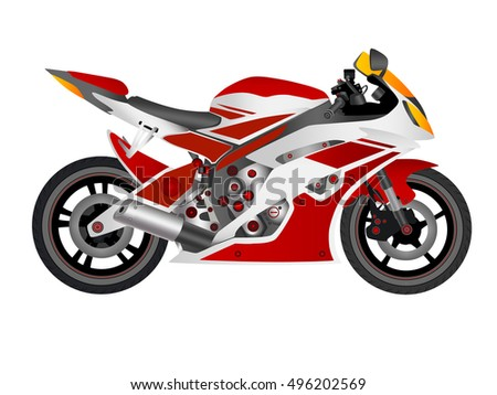 motorcycle in vector on white background