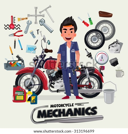 motorcycle mechanics with tool kit. character design - vector illustration - stock vector