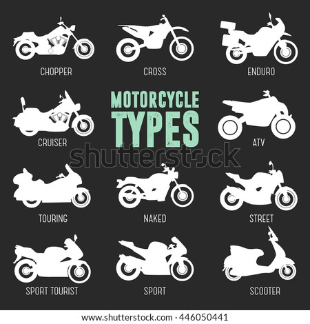 motorcycle model type objects icons moto stock vector royalty free 446050441 shutterstock. Black Bedroom Furniture Sets. Home Design Ideas