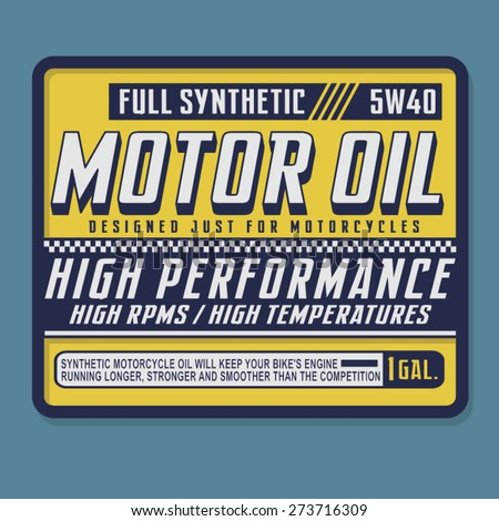 Motorcycle motor oil typography, t-shirt graphics, vectors - stock vector