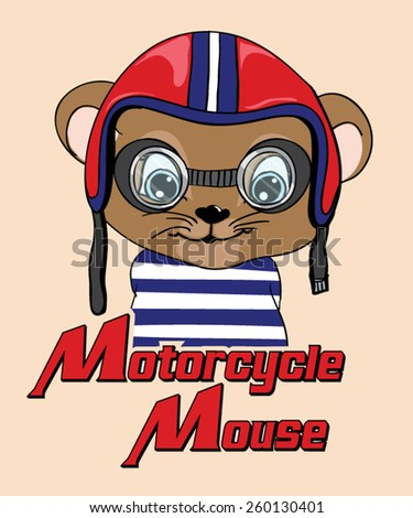 motorcycle mouse/T-shirt Graphics/Cute animal character/pilot bespectacled mouse illustration/illustration mouse/mouse cartoon/mouse graphic design/Cute brown mouse cartoon - stock vector