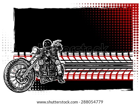 Motorcycle on the Black Background - stock vector