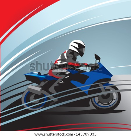 motorcycle racer, side view - stock vector