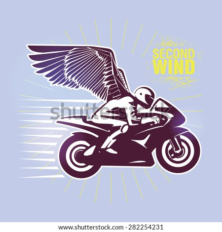 "Motorcycle racer. Vector illustration created in topic ""Second wind "" - stock vector"