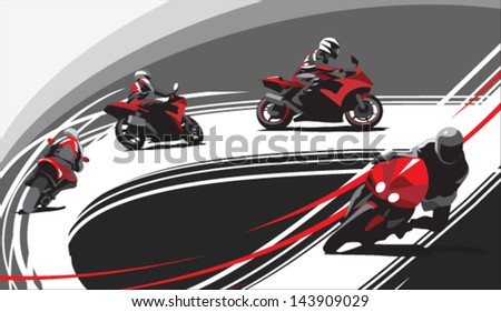 motorcycle racers on the track, gray background - stock vector