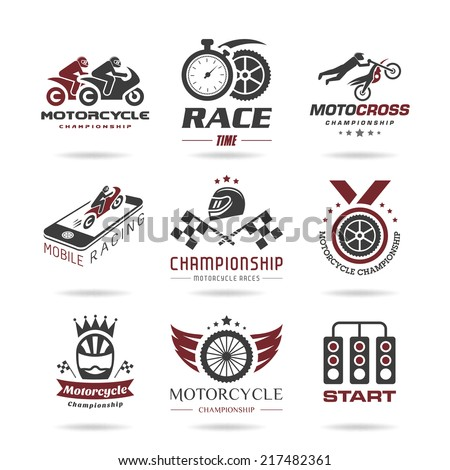 Motorcycle racing icon set - 2 - stock vector