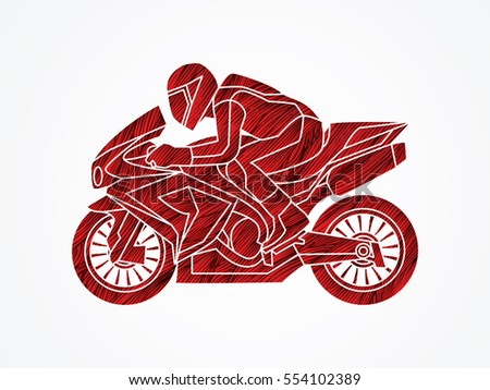 Motorcycle Racing Side View Designed Using Stock Vector