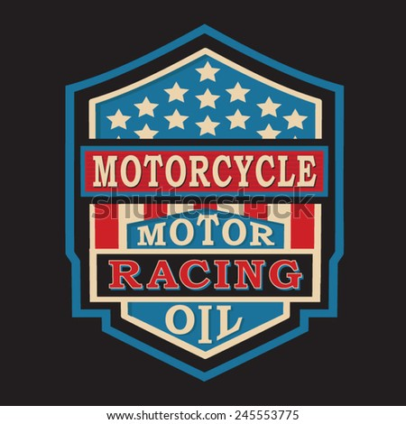 Motorcycle racing typography, t-shirt graphics, vectors  - stock vector