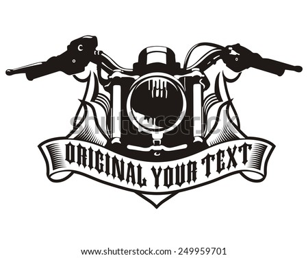 motorcycle ribbon emblem - stock vector