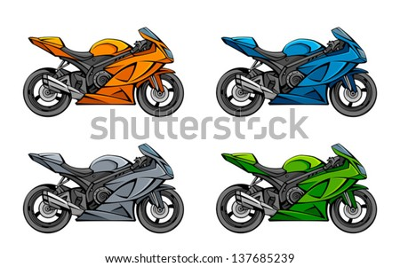 Motorcycle set - stock vector