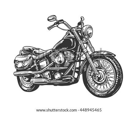 hand drawn classic chopper bike in engraving style vector vintage