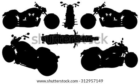 Motorcycle Silhouette Vector 15 - stock vector