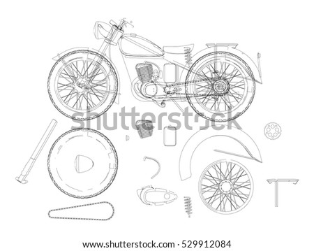 Motorcycle Structure Parts Diagramme Retro Motorcycle Stock Photo ...