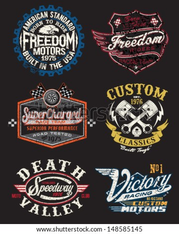 Motorcycle Themed Badge Vectors - stock vector