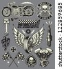 Motorcycle Vector Elements Set - stock