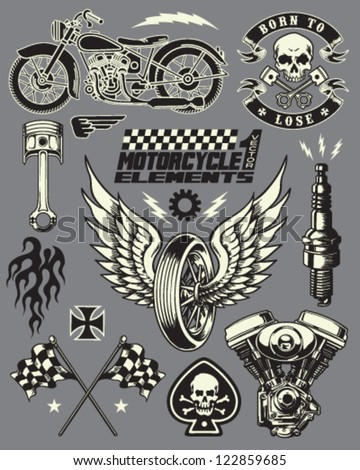 Motorcycle Vector Elements Set - stock vector