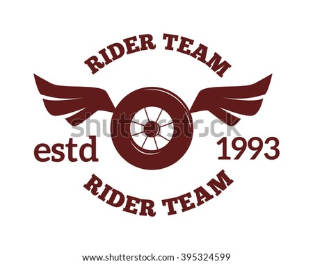 Motorcycle wheel label badge vector icon and moto club logo illustration. Moto club label logo with bike wheel, and wings. Bike club badge design element
