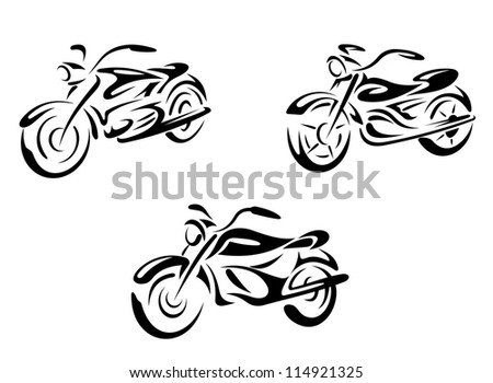 Motorcycles and bikes transport set. Vector illustration - stock vector