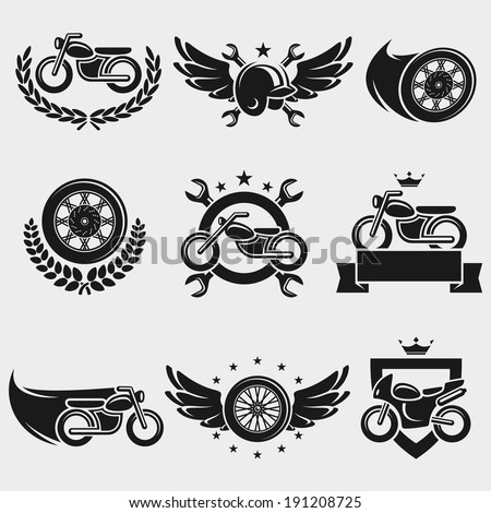 Motorcycles labels and icons set. Vector - stock vector