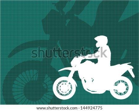 motorcyclist silhouette on the abstract background - stock vector