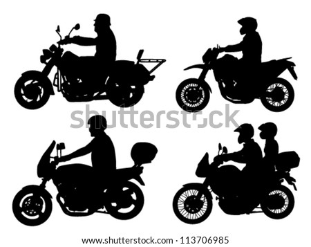 motorcyclist silhouettes - stock vector