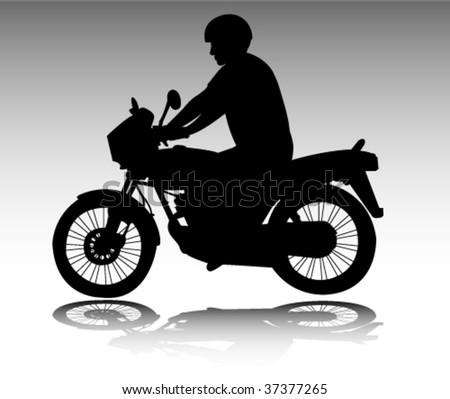 motorcyclist - vector - stock vector