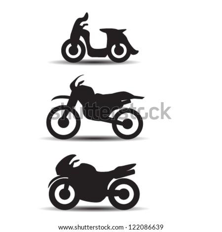 motorczcle pictos - stock vector