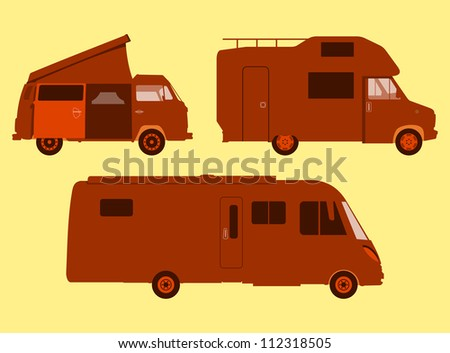Motorhome Silhouette - Orange illustration of three sizes of RV or motorhome - stock vector