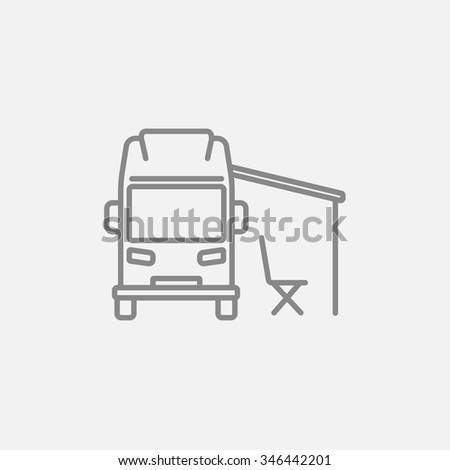Motorhome With Tent Line Icon For Web Mobile And Infographics Vector Dark Grey