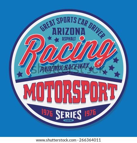 Motorsport racing typography, t-shirt graphics, vectors  - stock vector