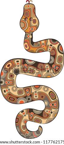 Mottled snake of the Chinese horoscope creeping up - stock vector