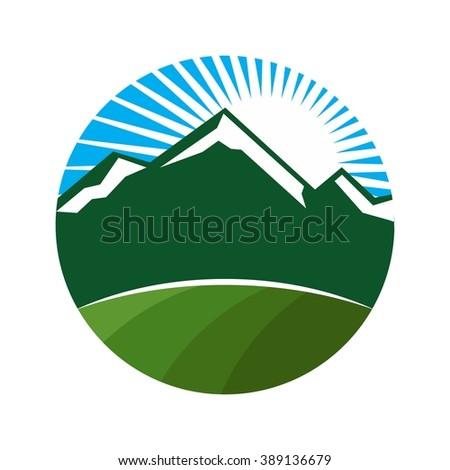 mount and field logo vector. - stock vector