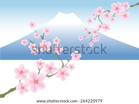 Mount FUJI and SAKURA or Cherry blossoms in Japan  - stock vector