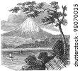 """Mount Fuji - vintage engraved illustration - """"Dictionnaire encyclop�©dique universel illustr�©"""" By Jules Trousset - 1891 Paris - stock vector"""