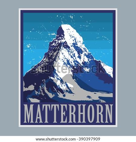 Mount Matterhorn (Monte Cervino) - peak in the Alps, mountain adventure background, vector illustration - stock vector