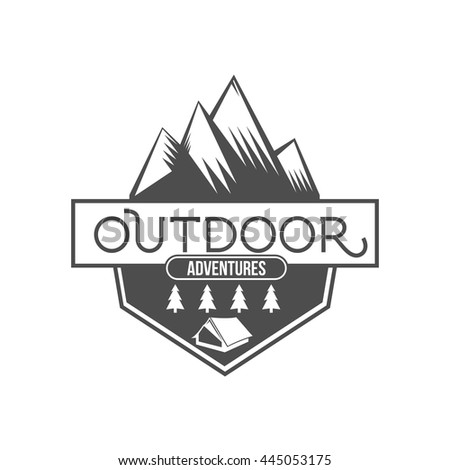 Mountain adventure and travel retro emblem, logo, badge - stock vector