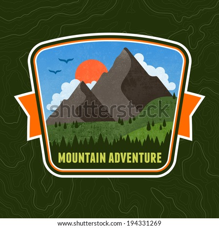 Mountain adventure illustration badge graphic design emblem - stock vector