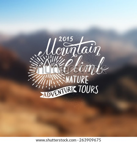 Mountain adventure lettering - stock vector