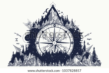 Mountain and compass and wind rose tattoo. Boho style, t-shirt design. Adventure, travel, outdoors art symbols