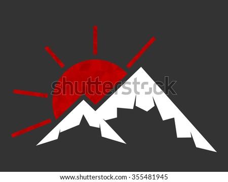 mountain and rising sun vector icon. Outdoor icon. Usable for company logo. - stock vector
