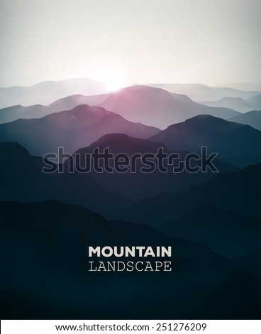 Mountain background, landscape, eps 10 - stock vector