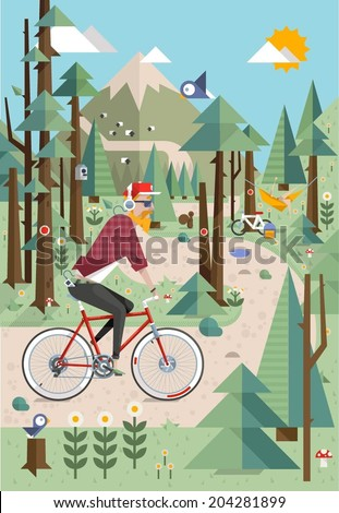 Mountain background with hipster riding on his bicycle. vector illustration - stock vector