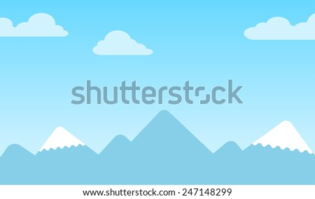 Mountain background with silhouettes of snow-capped conical peaks under a blue sky with clouds, vector illustrationMountain background with silhouettes of snow-capped peaks under blue sky with clouds - stock vector