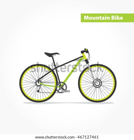 Mountain bicycle, bike flat icon. Vector modern illustration and design element on white background.