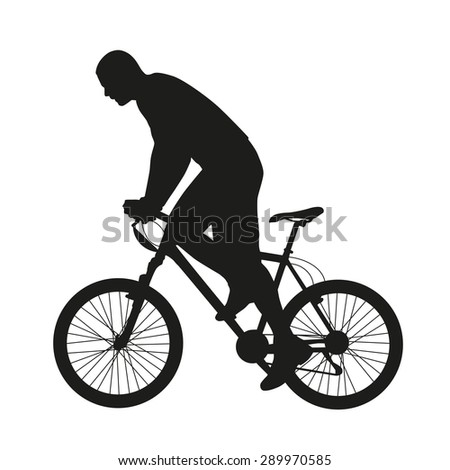 Mountain bicycle. Biker silhouette