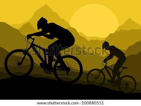 Mountain bike bicycle riders in wild mountain nature landscape background illustration vector - stock vector