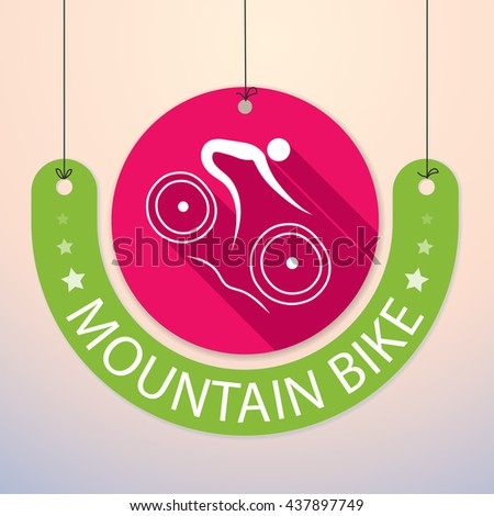 Mountain Bike - Colorful Paper Tag for Sports - stock vector