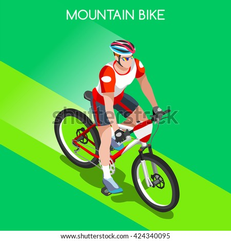 Mountain Bike Cyclist Bicyclist Athletes 2016 Summer Games Brasil.3D Isometric Athlete.Sporting Championship International Competition.Brazil Sport Infographic Mountain Bike Race olympics Vector Image - stock vector
